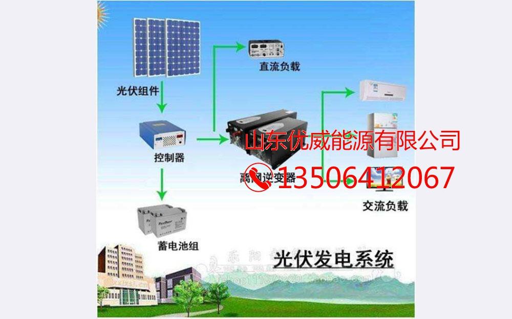 离网发电系统主要由太阳能电池组件、控制器、蓄电池组成,如输出电源为交流220V或110V,还需要配置离网逆变器